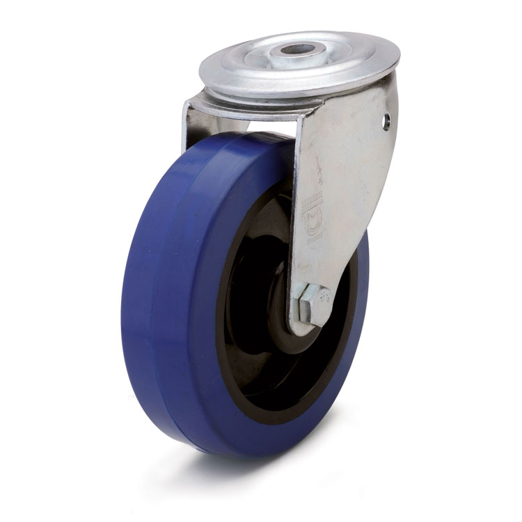 Elastic blue rubber wheel.