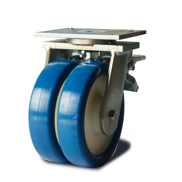 Blue polyurethane wheel with solid nylon rim and ball bearings.