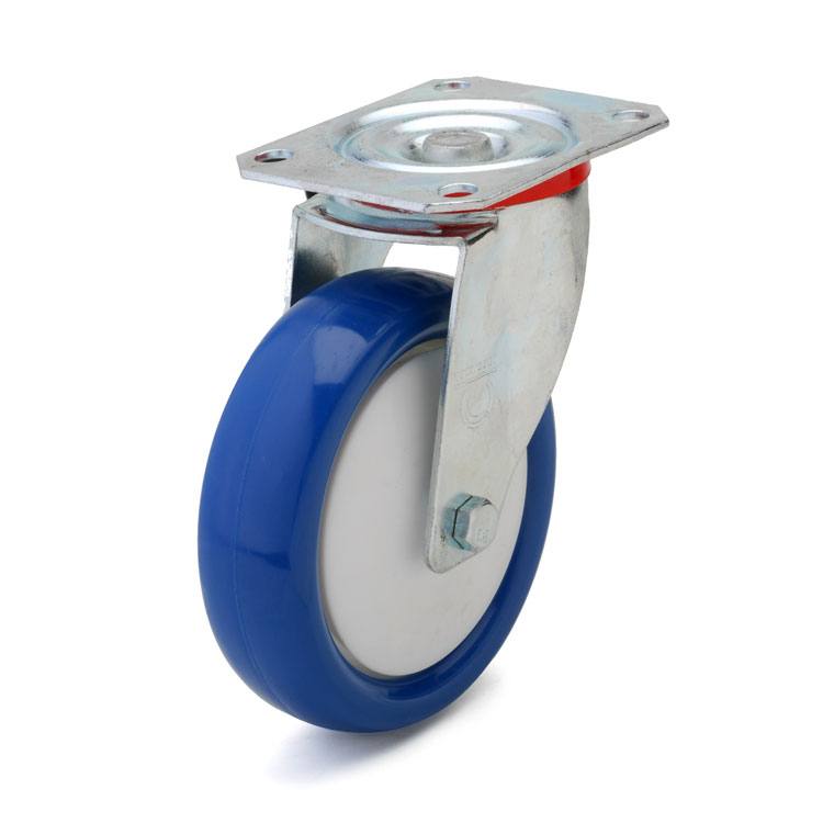 Blue polyurethane wheel with solid nylon rim and ball bearing.