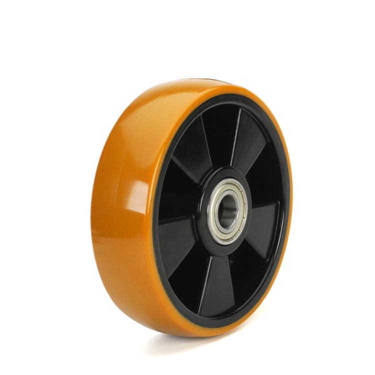 Yellow polyurethane wheel with solid black nylon rim and ball bearings.
