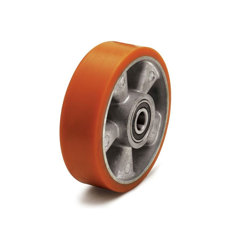 Yellow polyurethane wheel with aluminum rim and ball bearings.