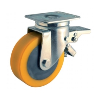 Swivel castor with brake and top plateThe series  47