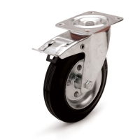 Swivel castor with brake and top plateThe series  10