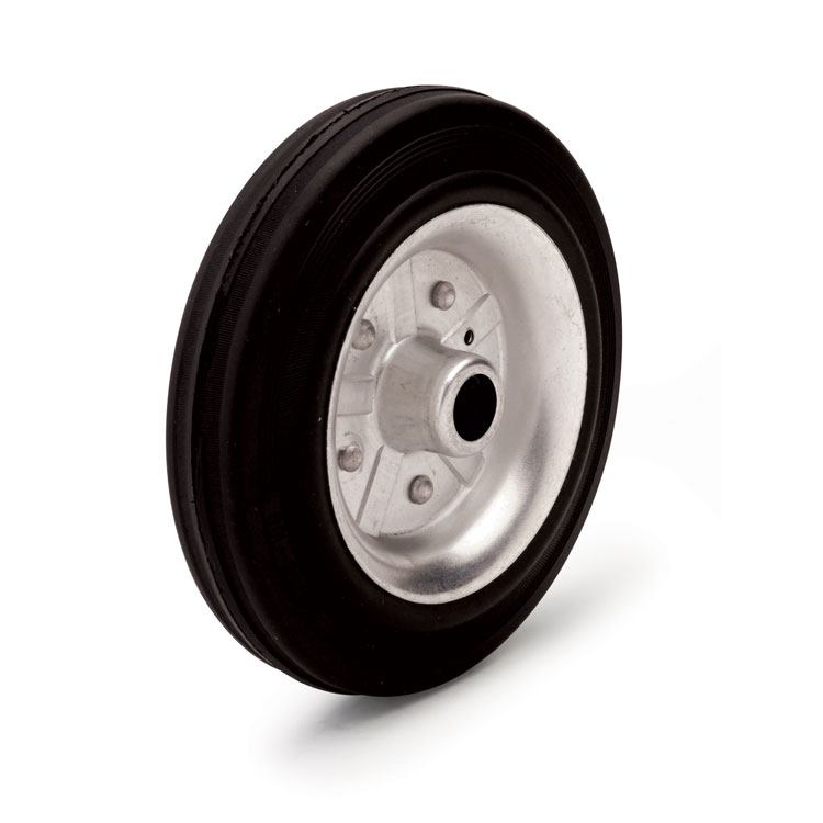 Standard black rubber wheel.