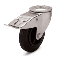Swivel castor with brake and central holeThe series  12