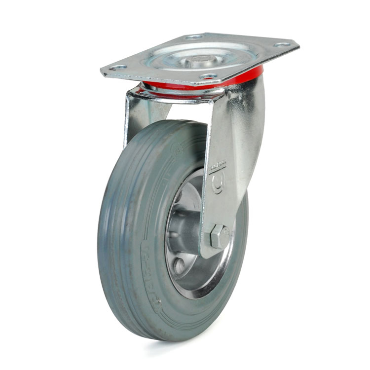Standard grey rubber wheel.