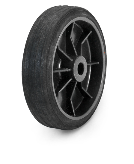 Synthetic black rubber wheel.