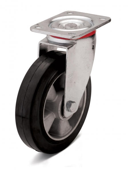 Elastic black rubber wheel.