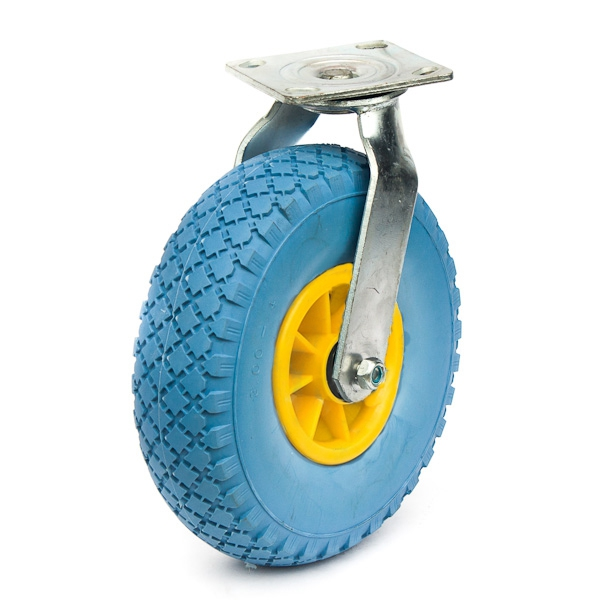 PU foam tyre on steel or plastic rim.